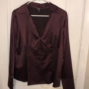 Maroon silky dress shirt